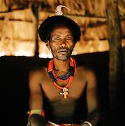 Portrait of Hamer tribesman wearing headgear in Turmi, Lower Omo Valley, Ethiopia