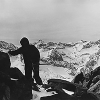 Roger Schley attempts a winter ascent of North Palisade from Palisade Basin in Kings Canyon National Park, California.
