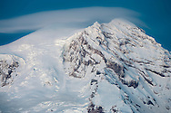 Two of the three summits of Mount Rainier in winter (Columbia Crest, Point Success) including the Tahoma Glacier, and the South Tahoma Glacier Headwall. Viewed from the SW. Mount Rainier National Park, WA, USA