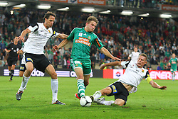 15.09.2012, Gerhard Hanappi Stadion, Wien, AUT, 1. FBL, SK Rapid Wien vs FC Admira Wacker Moedling, 08. Runde, im Bild Peter Poellhuber (FC Admira Wacker Moedling), Lukas Grozurek (SK Rapid Wien), Gernot Plassnegger (FC Admira Wacker Moedling)// during Austrian Bundesliga Football Match, 8th round, between SK Rapid Wien vs FC Admira Wacker Moedling at the Gerhard Hanappi Stadium, Vienna, Austria on 2012/09/15. EXPA Pictures © 2012, PhotoCredit: EXPA/ Sebastian Pucher