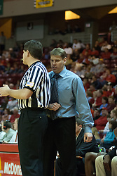 14 October 2006:  Coach Porter Moser works on the official.....In a game that involved both coaches as much as the players, the Northern Iowa Panthers plucked the Illinois State University Redbirds in a Missouri Valley Conference game by a score of 67 - 52. Competition took place at Redbird Arena in Normal Illinois
