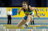 Photo: Richard Lane.<br />Norwich Union International, Glasgow. 27/01/2007. <br />Great Britain's Kelly Sotherton in the womens 60m hurdles.