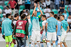 Milivoje Novakovic of Slovenia with other players after he played his last match in his career after football match between National teams of Slovenia and Malta in Round #6 of FIFA World Cup Russia 2018 qualifications in Group F, on June 10, 2017 in SRC Stozice, Ljubljana, Slovenia. Photo by Vid Ponikvar / Sportida