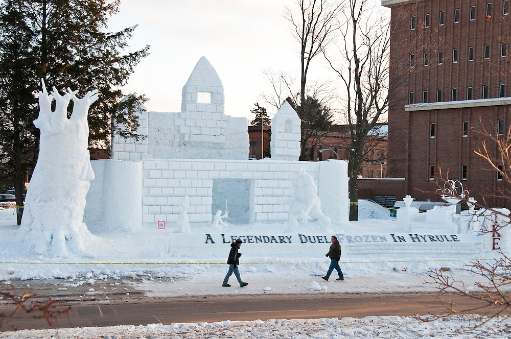 Large snow sculptures on the campus of Michigan Technological University in Houghton Michigan during the schools Winter Carnival.