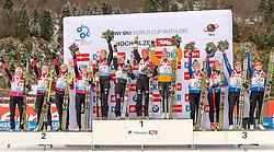 13.12.2014, Biathlonarena, Hochfilzen, AUT, E. ON IBU Weltcup, Staffel, Damen, im Bild Podium, v.l.: 2. Platz Team Weissrussland: Nadezhda Skardino (BLR), Nadzeya Pisareva (BLR), Nastassia Dubarezava (BLR), Darya Domracheva (BLR), Siegerteam Deutschland: Luise Kummer (GER), Franziska Hildebrand (GER), Vanessa Hinz (GER), Franziska Preuss (GER) und 3. Platz, Team Tschechien: Eva Puskarcikova (CZE), Jana Gerekova (SVK), Jitka Landova (CZE), Veronika Vitkova (CZE) // during Womens Relay of E. ON IBU Biathlon World Cup at the Biathlonstadium in Hochfilzen, Austria on 2014/12/13. EXPA Pictures © 2014, PhotoCredit: EXPA/ JFK