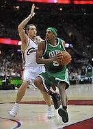 Rajon Rondo drives past Delonte West..The Cleveland Cavaliers defeated the Boston Celtics 108-84 in Game 3 of the Eastern Conference Semi-Finals at Quicken Loans Arena in Cleveland.