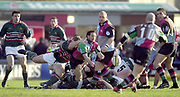Twickenham, Surrey, England, UK., 25th January 2003, Zurich Premiership Rugby, Stoop Memorial Ground, England, Harlequins vs Leicester Tigers,<br /> [Mandatory Credit: Peter Spurrier/Intersport Images],<br /> Powergen Cup Quater final Harlequins v Leicester<br /> Ben Gollings acting as scrum ahlfe clears the ball.