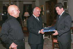 L-R : King Hussein of Jordan, his brother Prince Hassan, giving the banner of Crown prince to Prince Abdallah (or Abdullah) at Bab al Salamah Palace in Amman, Jordan on January 25, 1999. Twenty years ago, end of January and early February 1999, the Kingdom of Jordan witnessed a change of power as the late King Hussein came back from the United States of America to change his Crown Prince, only two weeks before he passed away. Photo by Balkis Press/ABACAPRESS.COM