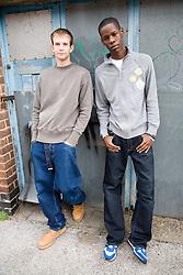 Portrait of two teenage boys,