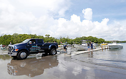 Haulover Marine Center team members pull out one of the many boats from the Haulover Marine Center on Wednesday, September 6, 2017 in Miami Beach, FL, USA. as they prepare for Hurricane Irma. Photo by David Santiago/Miami Herald/TNS/ABACAPRESS.COM