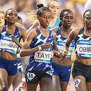 BRUSSELS, BELGIUM:  September 3:  Ejgayehu Taye of Ethiopia and Hellen Obiri of Kenya in action during the 5000m race for women during the Wanda Diamond League 2021 Memorial Van Damme Athletics competition at King Baudouin Stadium on September 3, 2021 in  Brussels, Belgium. (Photo by Tim Clayton/Corbis via Getty Images)