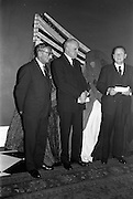 12/02/1963<br /> 02/12/1963<br /> 12 February 1963<br /> Launch reception for Irish Wool Weavers Co-operative Ltd. at the Shelbourne Hotel, Dublin. (l-r): Mr. K. Ticher, Joint Sales Manager; Mr. J. Haughey, Chairman Coras Trachtala and Mr. F.E. Stringer, Managing Directer Hill and Sons Ltd..