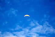 Paragliding above Rhossili, Gower peninsula, near Swansea, South Wales, UK