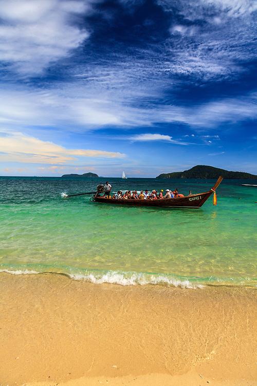 A long-tail boat at Andaman Sea in Phuket, Thailand.