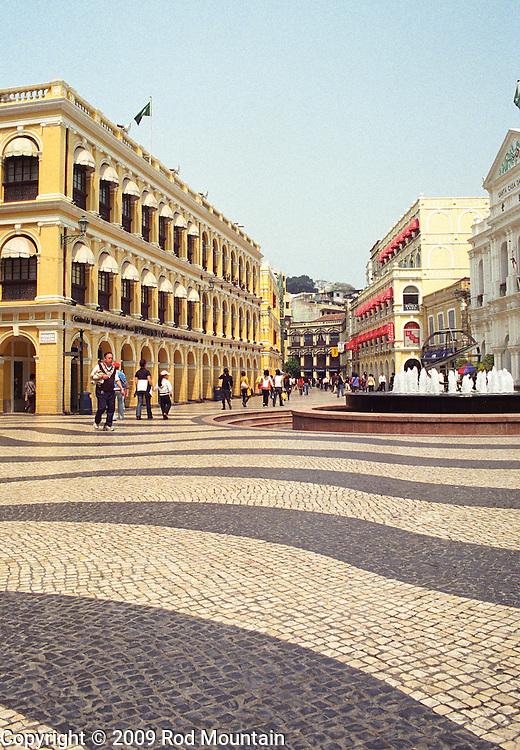 The open Senado Square as seen mid day in Macau.