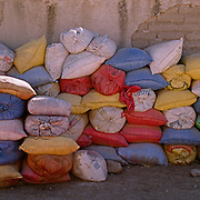 "Sacks of Quinoa at a processing factory in Challapata, Bolivia. .The nutritional qualities of the seed have generated a new export market for South American farmers. Demand for the grain-like seed are increasing due to its nutritional benefits. Quinoa contains more protein than any other ""grain"" and includes all eight essential amino acids needed for tissue development. Quinoa has been cultivated in the Andes since 3000BC. Challapata, Bolivia, 12th May 2011. Photo Tim Clayton"