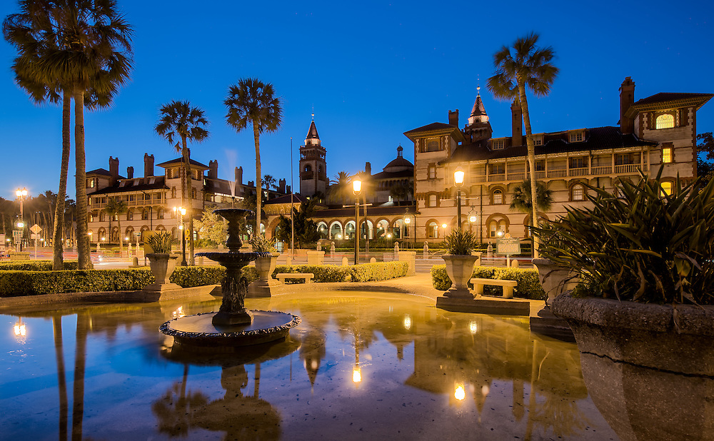 View of the Flagler College facade in St. Augustine, Florida, at dusk.  This building is a National Landmark and used to be the exclusive Ponce de Leon Hotel, built by Henry M. Flagler.
