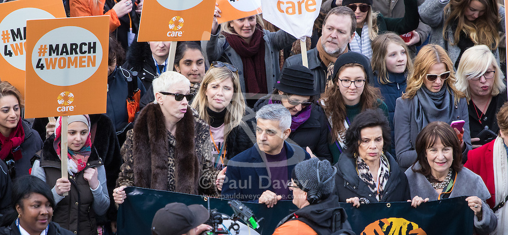 """City Hall, London, March 5th 2017. Stars join March4Women through London. Mayor of London Sadiq Khan and suffragette descendents prepare to march and """"sing for a fairer world ahead of International Women's Day"""". Attended by Annie Lennox, Emeli Sande, Helen Pankhurst, Bianca Jagger and with musical performances from Emeli Sande, Melanie C and more. PICTURED: Mayor Sadie Khan, Annie Lennox, Bianca Jagger lead the march"""
