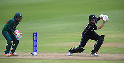 New Zealand's Kane Williamson (right) and Bangladesh's Mushfiqur Rahim during the ICC Champions Trophy, Group A match at Sophia Gardens, Cardiff.