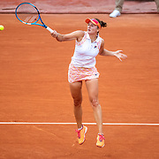 PARIS, FRANCE September 30. Irina-Camelia Begu of Romania in action against Simona Halep of Romania in the second round of the singles competition on Court Suzanne Lenglen during the French Open Tennis Tournament at Roland Garros on September 30th 2020 in Paris, France. (Photo by Tim Clayton/Corbis via Getty Images)