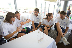 Sara Isakovic, Emil Tahirovic, Damir Dugonjic, Anja Klinar and Jernej Godec at press conference of Slovenian swimmers before World Championships in Rome, on July 23 2009, in Kranj, Slovenia. (Photo by Vid Ponikvar / Sportida)