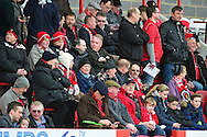 Ebbsfleet fans before the Vanarama National League South match between Ebbsfleet United and East Thurrock United at the Enclosed Ground, Whitehawk, United Kingdom on 4 March 2017. Photo by Jon Bromley.