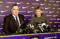 Tore Andre Flo signs for Rangers and traisn with squad for first time.<br />Pic Ian Stewart, November 23rd. 2000.<br />Torre Andre Flo at Ibrox park this afternoon after signing for Rangers, with managher Dick Advocaat., (Photo:Ian Stewart , Digitalsport