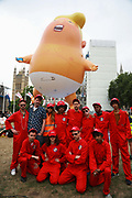 Thousands turned out to protest against US President Trumps visit to London, June 4th 2019, London, United Kingdom. Trump Baby, a giant balloon,  flies again over Parliament Square. The group behind the giant balloon raised more than thirty thousand pounds for charity.