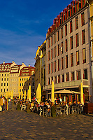 Outdoor cafes on Neumarkt, Dresden, Saxony, Germany