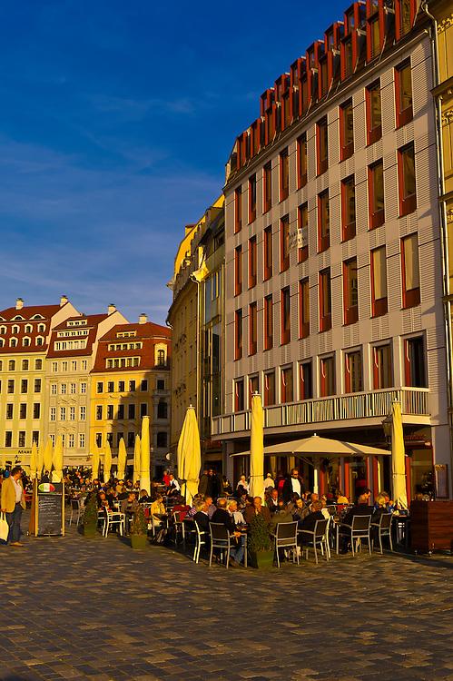 Outdoor cafes on Neumarkt, Dresden, Saxony, Germany