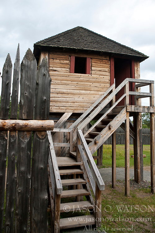 Block house guard tower along the exterior fence, Grand Portage National Monument, Grand Portage, Minnesota, United States of America