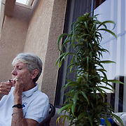 Margo Bouer at her assisted living home in Laguna Woods where she grows and smokes marijuana to ease the nauseau she suffers due to Multiple Sclerosis.