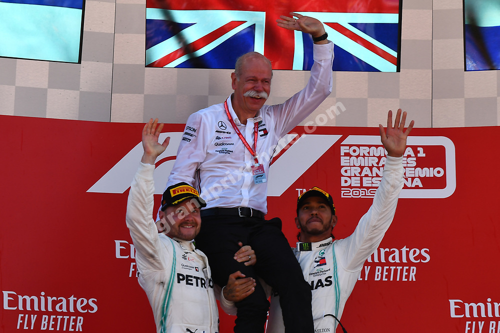 Lewis Hamilton, Valtteri Bottas and Dieter Zetsche (all Mercedes) on the podium after the 2019 Spanish Grand Prix at the Circuit de Barcelona-Catalunya. Photo: Grand Prix Photo