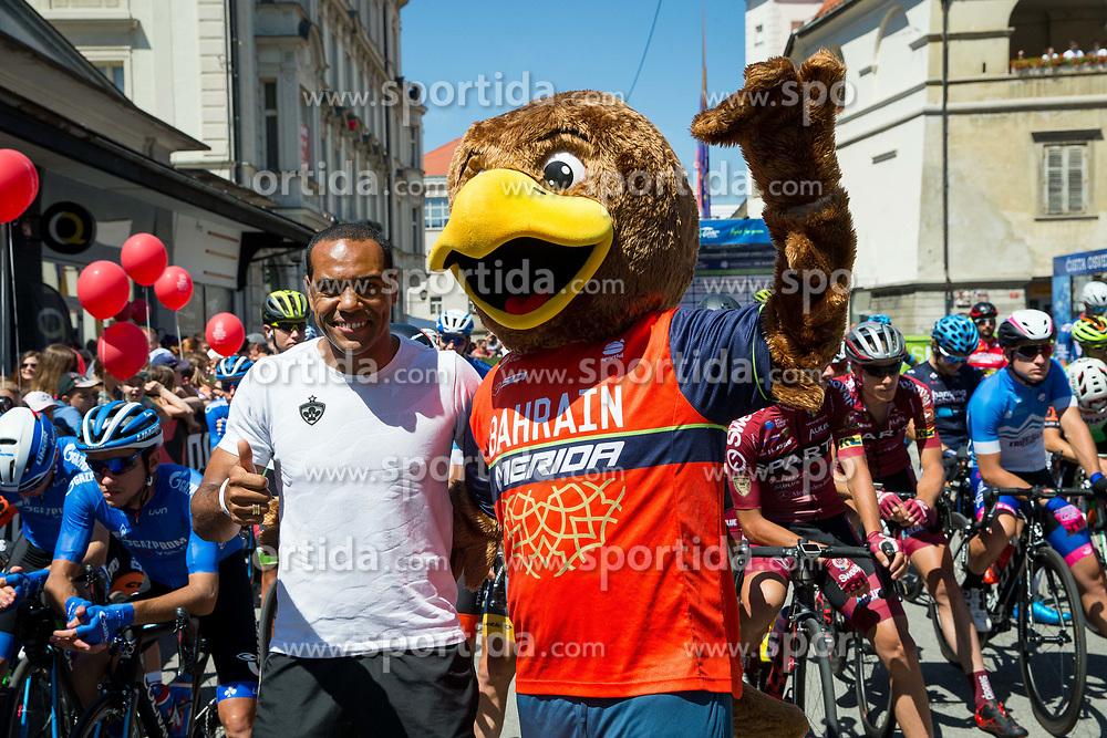 Marcos Morales Tavares, football player of NK Maribor with mascot of Bahrain Merida during 2nd Stage of 26th Tour of Slovenia 2019 cycling race between Maribor and  Celje (146,3 km), on June 20, 2019 in Celje, Maribor, Slovenia. Photo by Vid Ponikvar / Sportida