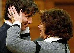Justin Trudeau is congratulated by his mother Margaret after being sworn in as a member of parliament for the riding of Papineau on Parliament Hill in Ottawa on Thursday Nov. 6, 2008. THE CANADIAN PRESS/Sean Kilpatrick /ABACAPRESS.COM    521043_012 Ottawa Canada
