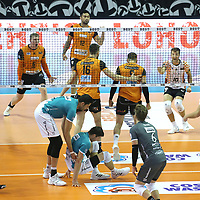 17.10.2020, Max Schmeling Halle, Berlin, GER, 1.VBL, BR VOLLEYS VS. SWD powervolleys Dueren, <br /> im Bild Sergey Grankin (BR Volleys #6), Samuel Tuia (BR Volleys #12), Eder Carbonera (BR Volleys #16), Timothee Carle (BR Volleys #9), Julian Zenger (BR Volleys #10)<br /> <br />    <br /> Foto © nordphoto /  Engler