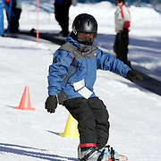 MAMMOTH LAKES, CA, January 20, 2008: Casey Bigelow learns to snowboard during a class for beginners  at Mammoth Mountain ski resort in Mammoth Lakes, California on January 20, 2008.