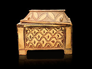 Minoan  pottery coffin chest coffin with gabled lid decorated with a net pattern,  Tylissos-Panokklisia 1350-1250 BC, Heraklion Archaeological  Museum, black background. .<br /> <br /> If you prefer to buy from our ALAMY PHOTO LIBRARY  Collection visit : https://www.alamy.com/portfolio/paul-williams-funkystock/minoan-art-artefacts.html . Type -   Heraklion   - into the LOWER SEARCH WITHIN GALLERY box. Refine search by adding background colour, place, museum etc<br /> <br /> Visit our MINOAN ART PHOTO COLLECTIONS for more photos to download  as wall art prints https://funkystock.photoshelter.com/gallery-collection/Ancient-Minoans-Art-Artefacts-Antiquities-Historic-Places-Pictures-Images-of/C0000ricT2SU_M9w