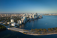 Aerial view of downtown Miami, the Brickell area, and Biscayne Bay in the afternoon