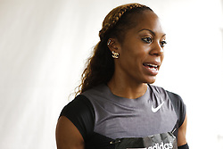 Samsung Diamond League adidas Grand Prix track & field; Sanya Richards-Ross, USA, in mixed zone interview,
