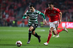 February 6, 2019 - Lisbon, Portugal - Sporting's forward Marcos Acuna from Argentina (L ) vies with Benfica's midfielder Andreas Samaris during the Portugal Cup Semifinal first leg football match SL Benfica vs Sporting CP at Luz stadium in Lisbon, on February 6, 2019. (Credit Image: © Pedro Fiuza/ZUMA Wire)