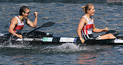 CAROLIN LEONHARDT & SILKE HOERMANN (BOTH GERMANY) CELEBRATE THEIR SILVER MEDALS IN WOMEN'S K2 1000 METERS FINAL A RACE DURING 2010 ICF KAYAK SPRINT WORLD CHAMPIONSHIPS ON MALTA LAKE IN POZNAN, POLAND...POLAND , POZNAN , AUGUST 21, 2010..( PHOTO BY ADAM NURKIEWICZ / MEDIASPORT ).