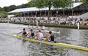 Henley, Great Britain.   Leander Club and Reading University RC  winning, their Sat. heat of the Queen Mother Challenge Cup. 2009 Henley Royal Regatta Saturday 04/07/2009 at  [Mandatory Credit. Peter Spurrier/Intersport Images] Crew Bow Charles COUSINS, Marcus BATEMAN, Bill LUCUS and Sam TOWNSEND. . HRR.