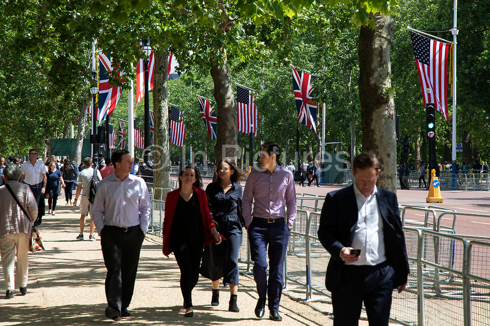 On the first day of the state visit by US President Donald Trump US and Union flags line The Mall on 3rd June 2019 in London, United Kingdom.