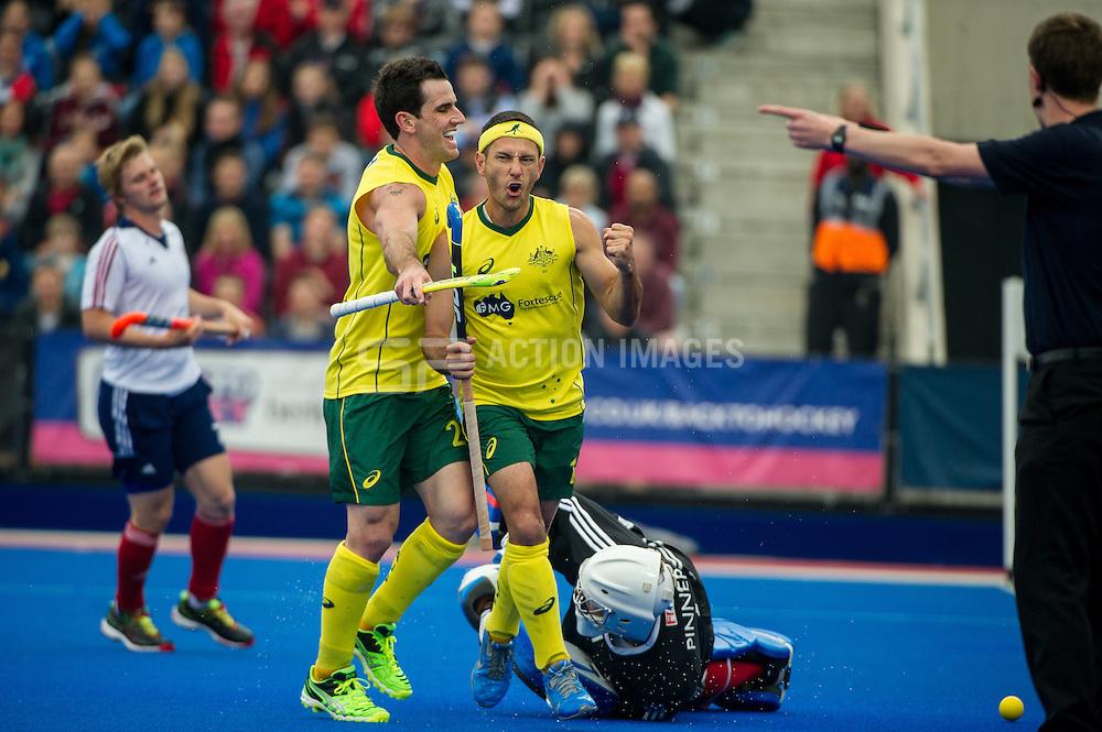 Jamie Dwyer celebrates scoring for Australia. Great Britain v Australia, Lee Valley Hockey & Tennis Centre, London, UK on 13 June 2015. Photo: Simon Parker
