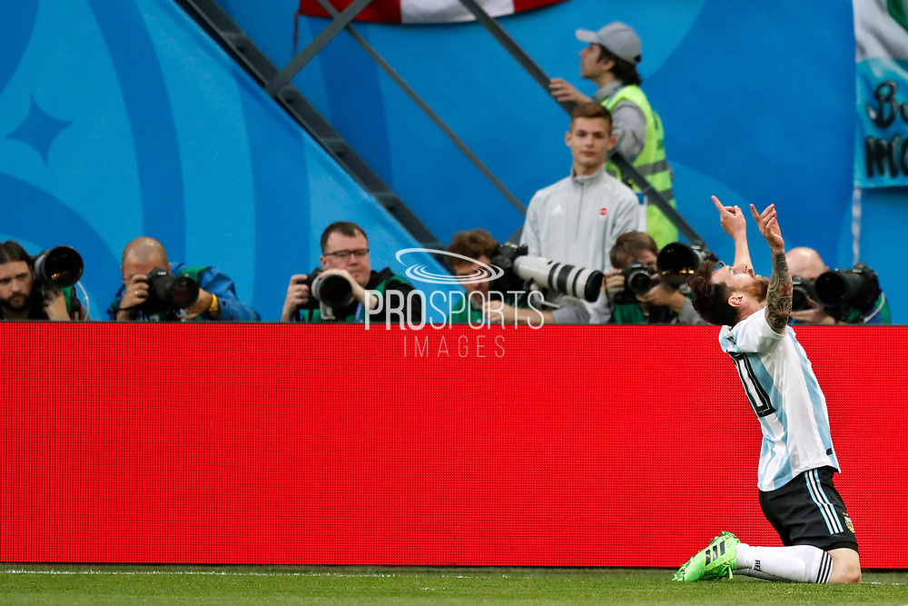 Lionel Messi of Argentina celebrates after his goal during the 2018 FIFA World Cup Russia, Group D football match between Nigeria and Argentina on June 26, 2018 at Saint Petersburg Stadium in Saint Petersburg, Russia - Photo Stanley Gontha / Pro Shots / ProSportsImages / DPPI