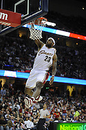 LeBron James of Cleveland goes up for a slam dunk. The Miami Heat lost to the host Cleveland Cavaliers 84-76 at Quicken Loans Arena, April 13, 2008...