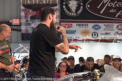 Custom builder Cristian Sosa of Las Vegas, NV speaking about his BMW on display at the Old Iron - Young Blood exhibition media and industry reception in the Motorcycles as Art gallery at the Buffalo Chip during the annual Sturgis Black Hills Motorcycle Rally. Sturgis, SD. USA. Sunday August 6, 2017. Photography ©2017 Michael Lichter.
