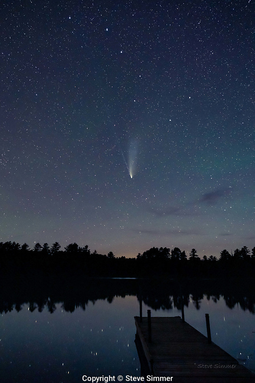 The comet was noticeably fainter this night. As it moves away from earth and the moon lights up the evening sky, the comet will no longer be visible. At Bearhead Lake's dark skies the view was outstanding.