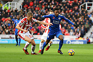 Demarai Gray of Leicester City (r) and Darren Fletcher of Stoke City battle for the ball. Premier league match, Stoke City v Leicester City at the Bet365 Stadium in Stoke on Trent, Staffs on Saturday 4th November 2017.<br /> pic by Chris Stading, Andrew Orchard sports photography.